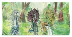 Beach Towel featuring the painting The Fae - Sylvan Creatures Of The Forest by Shawn Dall