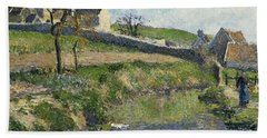 The Farm At Osny Beach Towel by Camille Pissarro
