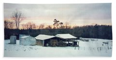 The Farm In Snow At Sunset Beach Towel
