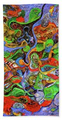 The Fiddle Player Beach Towel by Lee Ransaw