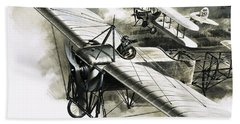 The First Reconnaissance Flight By The Rfc Beach Towel by Wilf Hardy