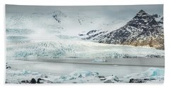 The Fjallajokull Glacier And Ice Lagoon. Beach Towel