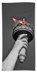 The Flame Of Liberty - B And W Beach Towel
