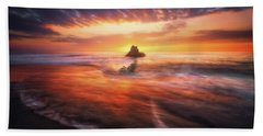 The Flaming Rock Beach Towel