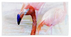 Beach Towel featuring the photograph The Flamingo by John Kolenberg