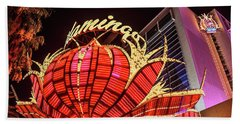 Beach Towel featuring the photograph The Flamingo Neon Sign Wide by Aloha Art