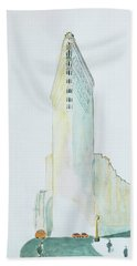 The Flat Iron Building Beach Towel by Keshava Shukla
