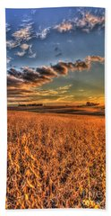 The Fleeting Sunset Missouri Soybean Farming Art  Beach Towel