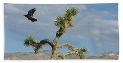 Beach Towel featuring the photograph The Flight Of Raven. Lucerne Valley. by Ausra Huntington nee Paulauskaite