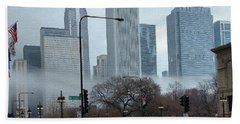 The Fog Lifts On Michigan Avenue Beach Towel
