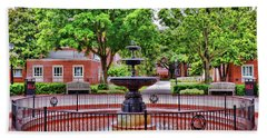 Beach Towel featuring the photograph The Fountain At Radford University by Kerri Farley