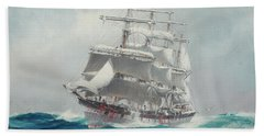 The Four-masted Wool Clipper Port Jackson Cutting Through A Heavy Swell Under Reefed Topsails Beach Towel