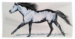 The Framed American Paint Horse Beach Sheet by Cheryl Poland