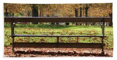 Beach Towel featuring the photograph The French Bench And The Autumn by Yoel Koskas