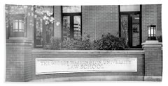 Beach Towel featuring the photograph The George Washington University Law School Dc Bw by Susan Candelario