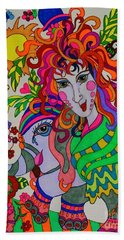 The Girl And The Elephant Beach Towel by Alison Caltrider