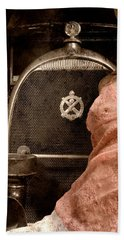 The Girl On The Background Of Vintage Car. Beach Towel