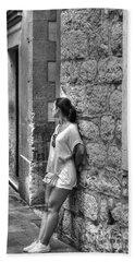 The Girl On The Street Beach Sheet by Yury Bashkin