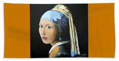The Girl With The Pearl Earring  Beach Towel