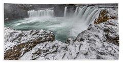 The Godafoss Falls In Winter Beach Towel
