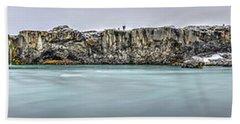 The Godafoss Falls Pano Beach Towel