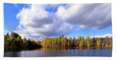 Beach Towel featuring the photograph The Golden Forest At Woodcraft by David Patterson