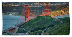 The Golden Gate At Sunset Beach Towel