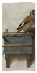 The Goldfinch, 1654  Beach Sheet by Carel Fabritius