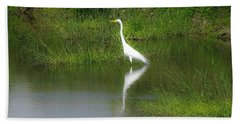 Great Egret By The Waters Edge Beach Sheet