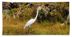 Egret Against Driftwood Beach Towel