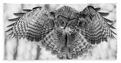 Beach Towel featuring the photograph The Great Grey Owl In Black And White by Mircea Costina Photography