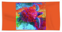 The Great Sea Turtle In Abstract Beach Towel