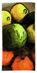 The Green And Gold Apples With The Orange Mandarins Beach Sheet