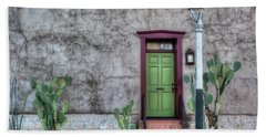 Beach Towel featuring the photograph The Green Door by Lynn Geoffroy