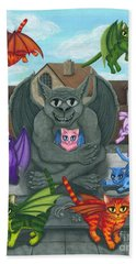 The Guardian Gargoyle Aka The Kitten Sitter Beach Towel