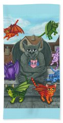 Beach Towel featuring the painting The Guardian Gargoyle Aka The Kitten Sitter by Carrie Hawks