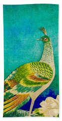 The Handsome Peacock - Kimono Series Beach Towel