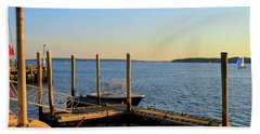 Beach Towel featuring the photograph The Harbor Bristol Rhode Island by Tom Prendergast