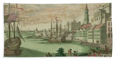 The Harbor In Boston, Massachusetts, 1770  Beach Towel