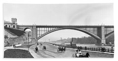 The Harlem River Speedway Beach Towel by William Henry jackson