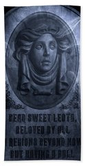 Beach Towel featuring the photograph The Headstone Of Madame Leota by Mark Andrew Thomas