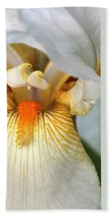 Beach Towel featuring the photograph The Heart Of A Bearded Iris by Sheila Brown