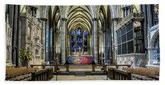 The High Altar In Salisbury Cathedral Beach Towel