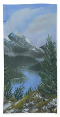 Beach Towel featuring the painting The High Country by Jimmie Bartlett