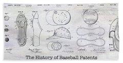 The History Of Baseball Patents Beach Towel by Jon Neidert