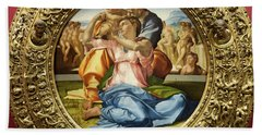 The Holy Family - Doni Tondo - Michelangelo - Round Canvas Version Beach Towel
