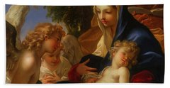 Beach Sheet featuring the painting The Holy Family With Angels by Seastiano Ricci
