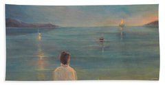Beach Towel featuring the painting The Homecoming by Donna Tucker