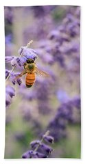 The Honey Bee And The Lavender Beach Towel