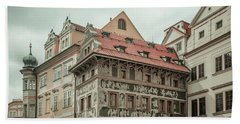 Beach Sheet featuring the photograph The House At The Minute With Graffiti At Old Town Square  by Jenny Rainbow